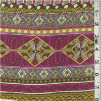 *3 3/4 YD PC--Fuschia/Gold Print Lawn