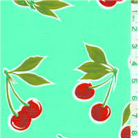 *7/8 YD PC--Seafoam Cherry Oilcloth