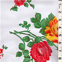 *5/8 YD PC--White Floral Oilcloth