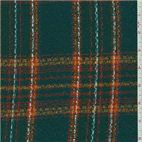 *4 3/8 YD PC--Spruce Green Plaid Boucle Suiting