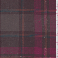 *3 1/2 YD PC--Brown/Pink Plaid Linen Suiting