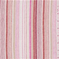 *3 YD PC--White/Pink Stripe Linen