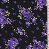 *2 1/2 YD PC--Black/Purple Floral Challis