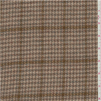 *1 1/2 YD PC--Beige Pink/Blue Plaid Wool Suiting