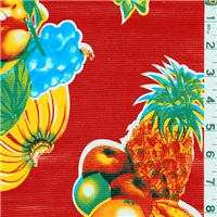 *1 1/4 YD PC--Red Tropical Fruit Oilcloth