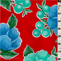 *5/8 YD PC--Red Floral Oilcloth