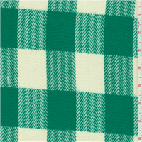 *1 1/2 YD PC--Green/Ivory Plaid Flannel Suiting