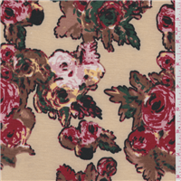 *3 1/8 YD PC--Tan Floral Jersey Knit