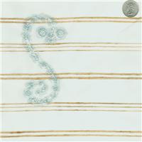 *1 5/8 YD PC--Ivory Embroidered Silk Organza