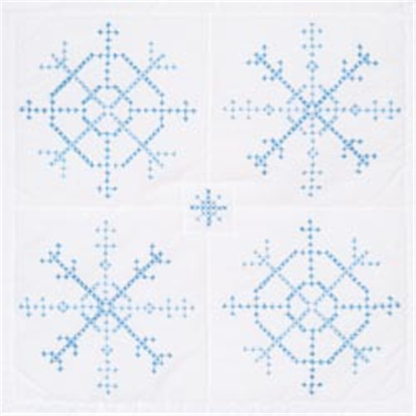 Stamped White Quilt Blocks 18x18 6 Pkg Snowflakes