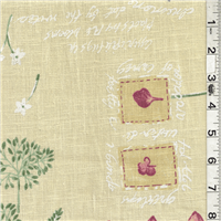*3/4 YD PC--Yellow Floral Linen