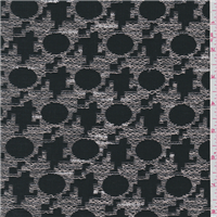 *3 1/4 YD PC--Black/Tan Geometric Embroidered Cotton