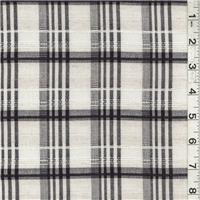 *3 1/2 YD PC--Ecru/Navy Plaid Linen