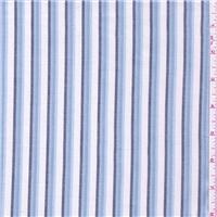 *3 1/4 YD PC--Ivory/Blue Stripe Shirting