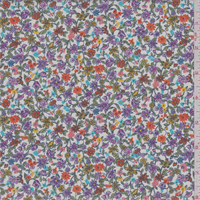 *3 YD PC--White Multi Floral Poplin