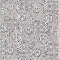 *3 YD PC--Ivory/Black Floral Lace