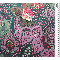 Teal Multi Floral Silk Charmeuse