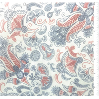 White Paisley Print Crinkled Silk Chiffon