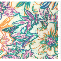 Ivory Multicolor Floral Silk Crepe de Chine