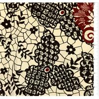 Beige/Black Lace Print Silk Crepe de Chine