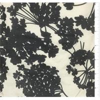 Beige/Black Floral Silk Voile