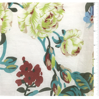 White Multi Floral Silk Voile