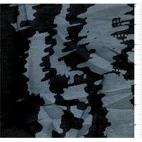 Black/Slate Blue Wave Print Silk Voile