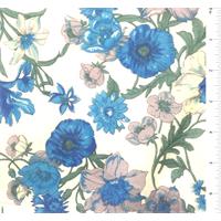 Ivory/Aqua Floral Print Silk Voile