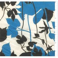 White/Aqua Blue Floral Print Silk Voile
