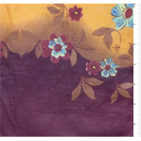 Cranberry/Orange Floral Print Silk Voile