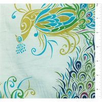 Pale Blue Peacock Print Silk Voile