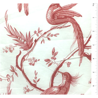 White/Red Bird Print Silk Voile