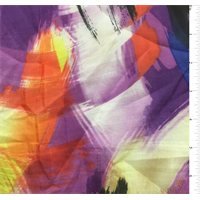 Purple Multi Brush Print Silk Voile
