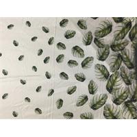 Buff Yellow Leaf Print Silk Chiffon