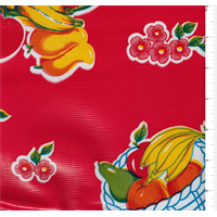 Red Fruit Basket Oilcloth