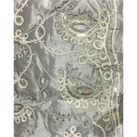 Sterling Grey Paisley Embroidered Taffeta
