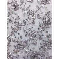 Nickel Grey Floral Ribbon Sequin Mesh