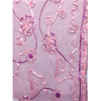 Baby Pink Floral Ribbon Sequin Mesh