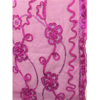 Hot Pink Floral Ribbon Sequin Mesh