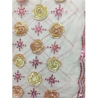 Deep Pink Floral Organza Mesh