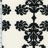 Ivory/Black Damask Print Cotton Twill Decorating Fabric
