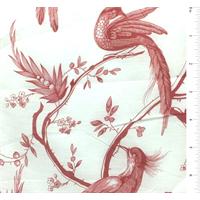 *1 1/2 YD PC--White/Red Bird Print Silk Voile