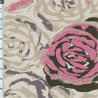 Beige/Pink Floral Decor Cotton Twill
