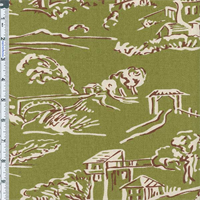 Moss Green Village Toile Print Home Decor Cotton