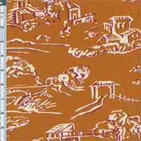 Burnt Gold Village Toile Print Home Decor Cotton