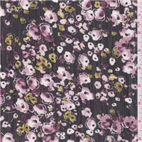 *3 1/2 YD PC--Black/Pink Floral Crinkled Chiffon