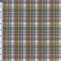 Brown/Blue Betty Plaid Stretch Cotton Blend