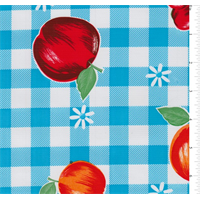 Bright Blue Check Oilcloth