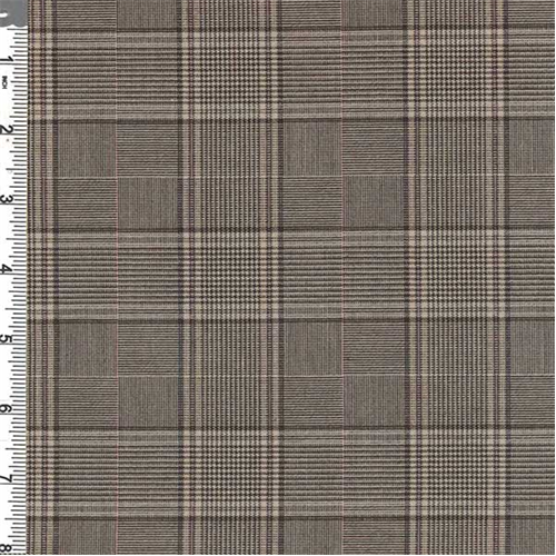 Camel Brown Glen Plaid Poly Suiting 55024 Discount Fabrics