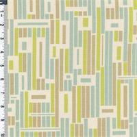 Kiwi/Aqua Modern Blocks Print Linen Decorating Fabric